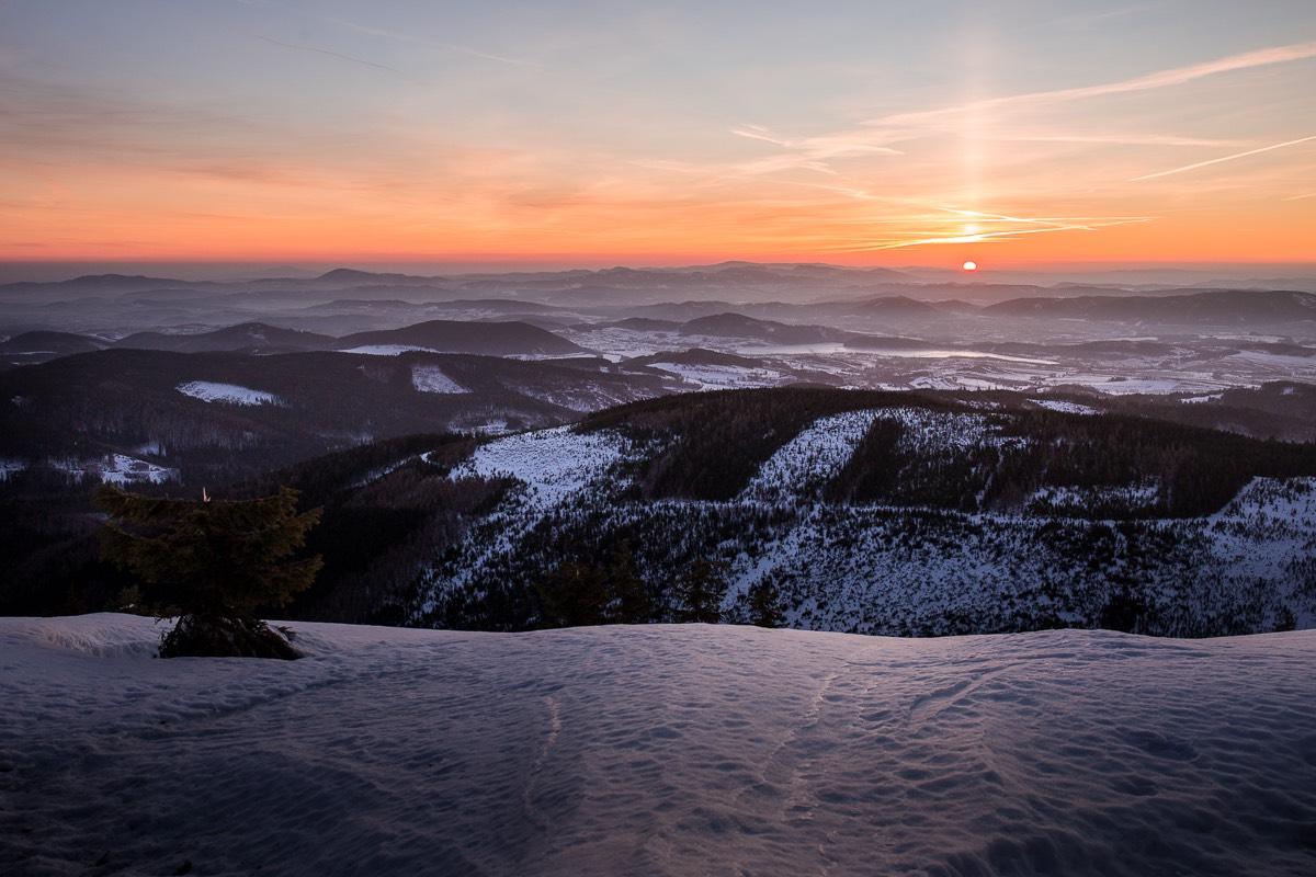 Lysečinská hora východ slunce
